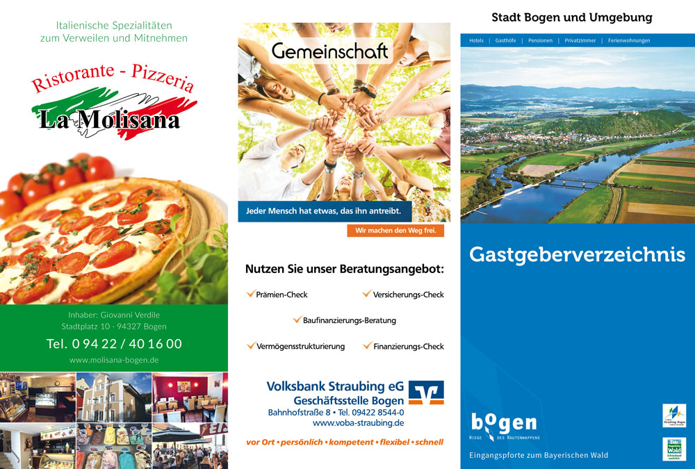 Prospekt Gastgeberverzeichnis Bogen Titel-, Rück- und Einklappseite