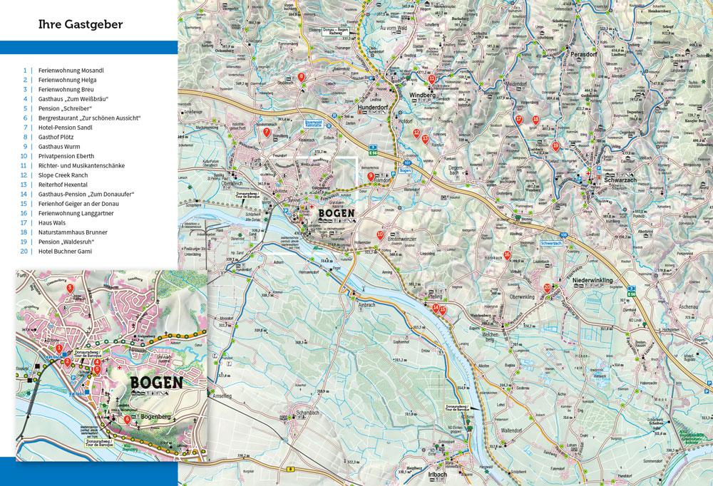 Prospekt Gastgeberverzeichnis Bogen 4+5 Umschlagseite mit Karte der Umgebung