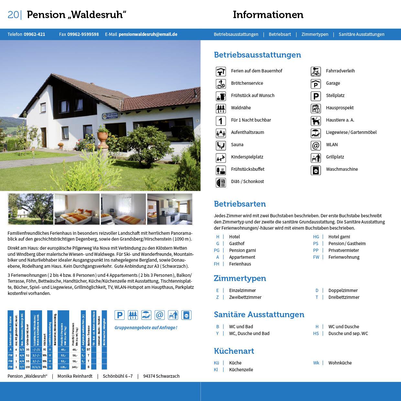 Prospekt Gastgeberverzeichnis Bogen Innenseiten mit Vermieter und Informationen