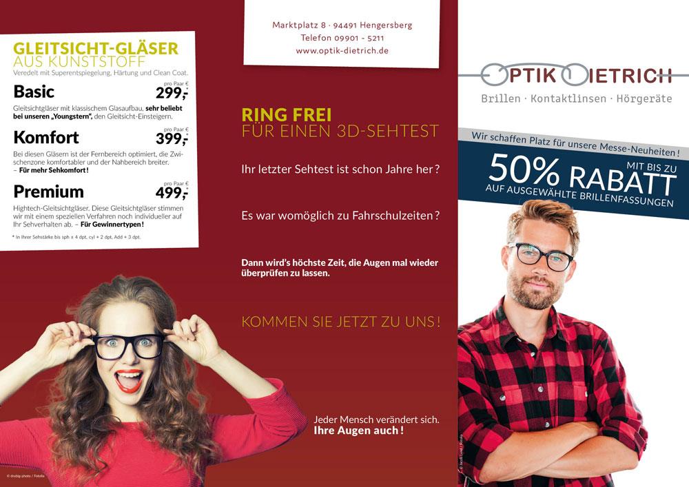 Brillenflyer Titel-, Rück- und Einklappseite