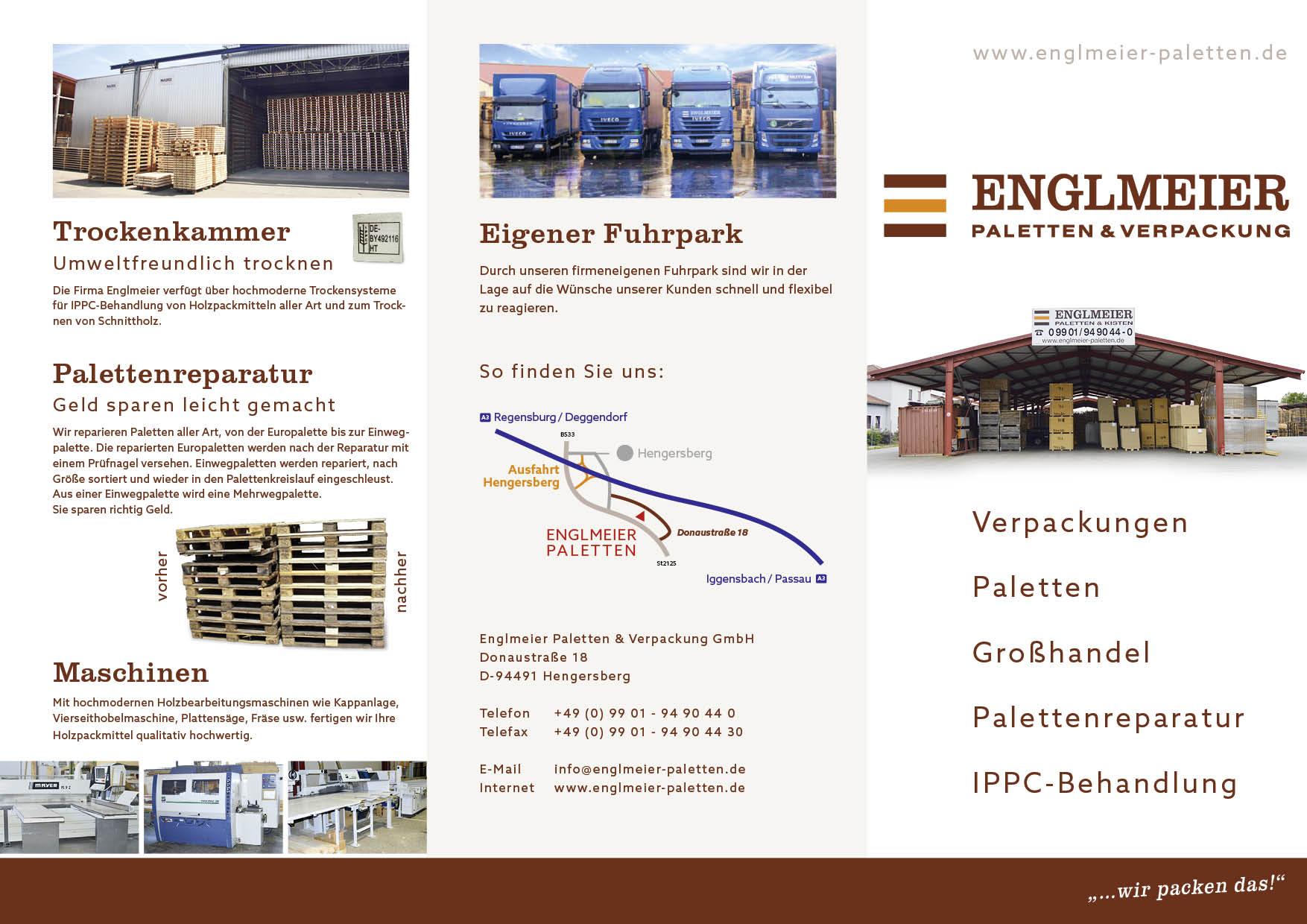 Englmeier Paletten Flyer Titel-, Rück- und Einklappseite