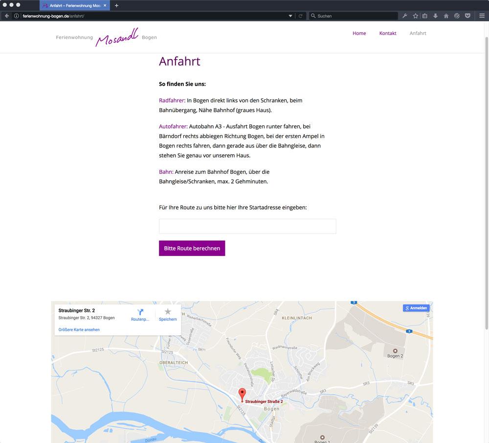 Mosandl Internetseite Anfahrt
