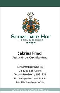 Schmelmer Hof Visitenkarte Vorderseite Sabrina Friedl