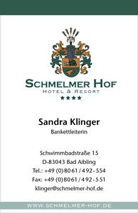Schmelmer Hof Visitenkarte Vorderseite Sandra Klinger