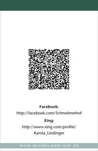 Schmelmer Hof Visitenkarte Rückseite Karola Lindinger
