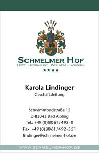 Schmelmer Hof Visitenkarte Vorderseite Karola Lindinger