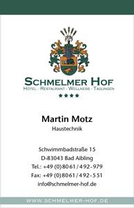 Schmelmer Hof Visitenkarte Vorderseite Martin Motz