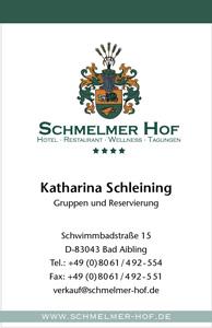 Schmelmer Hof Visitenkarte Vorderseite Katharina Schleining