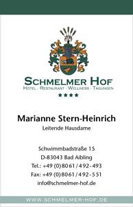 Schmelmer Hof Visitenkarte Vorderseite Marianne Stern-Heinrich